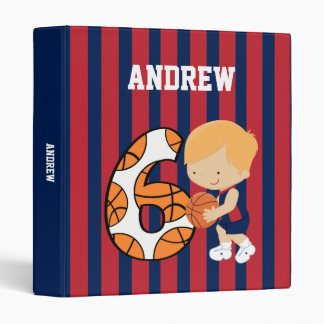 6th Birthday Blue and Red Basketball Player 3 Ring Binders