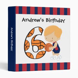 6th Birthday Blue and Red Basketball Player v2 Vinyl Binder
