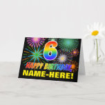 [ Thumbnail: 6th Birthday: Bold, Fun, Fireworks, Rainbow 6 Card ]