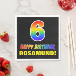 [ Thumbnail: 6th Birthday: Bold, Fun, Simple, Rainbow 6 Napkins ]