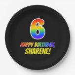 [ Thumbnail: 6th Birthday: Bold, Fun, Simple, Rainbow 6 Paper Plate ]