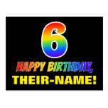 [ Thumbnail: 6th Birthday: Bold, Fun, Simple, Rainbow 6 Postcard ]