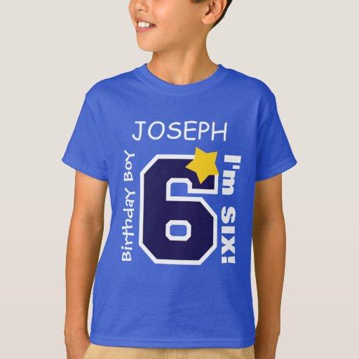 6th Birthday Boy Blue One Year Custom Name A06a T Shirt