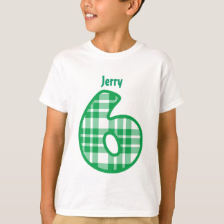 6th Birthday Boy GREEN PLAID Custom Name V5 T-Shirt