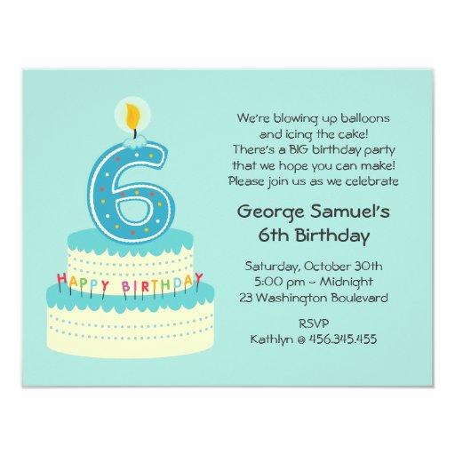 6th Birthday Cake Invitation