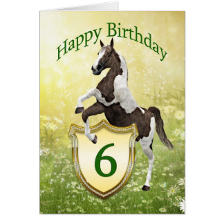 6th birthday card with a rearing horse