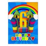 6th Birthday Card With Bouncy Castle And Rainbow