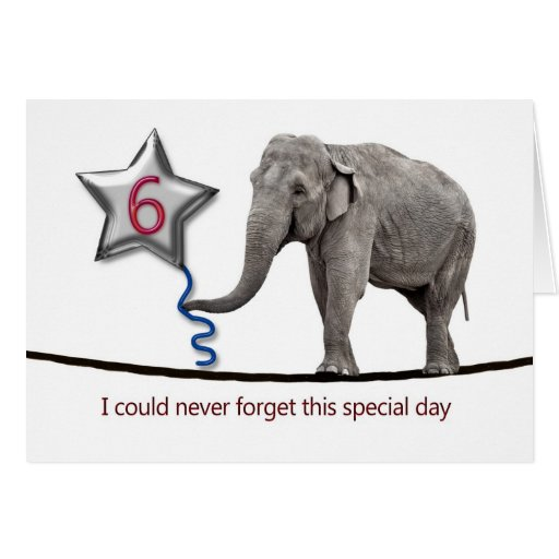 6th Birthday card with tightrope walking elephant