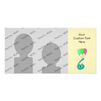 6th Birthday Cartoon, Teal Green and Fuchsia Pink. Card