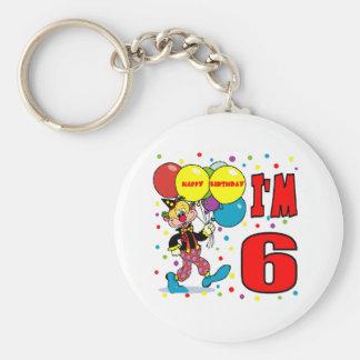 6th Birthday Clown Birthday Basic Round Button Keychain