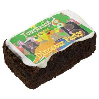 6th Birthday Cool Dinosaur DJ Party Rectangular Brownie
