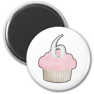 6th Birthday Cupcake Magnet