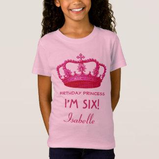 6th Birthday Custom Name Crown Gift Idea V18 T-Shirt