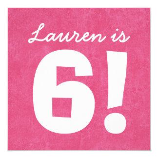 6th Birthday Custom Name Pink White for GIRL B06 Card
