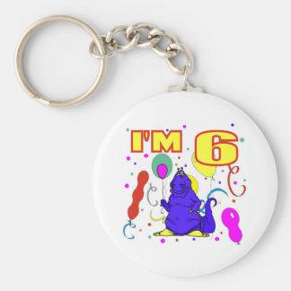 6th Birthday Dinosaur Birthday Basic Round Button Keychain