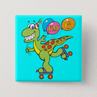 6th Birthday Dinosaur Pinback Button