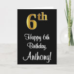 [ Thumbnail: 6th Birthday ~ Elegant Luxurious Faux Gold Look # Card ]