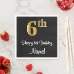 [ Thumbnail: 6th Birthday ~ Elegant Luxurious Faux Gold Look # Napkins ]