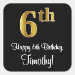 [ Thumbnail: 6th Birthday – Elegant Luxurious Faux Gold Look # Sticker ]