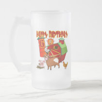 6th Birthday Farm Birthday Frosted Glass Beer Mug