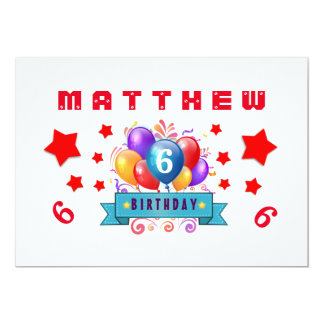 6th Birthday Festive Balloons and Stars B106 Card
