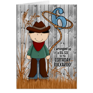 6th Birthday for a Little Cowboy Western Themed Card