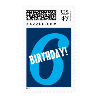 6th Birthday for Boy Big Bold Blue Number Postage
