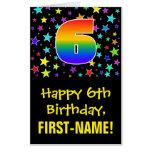 [ Thumbnail: 6th Birthday: Fun, Colorful Stars + Rainbow # 6 Card ]
