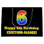 [ Thumbnail: 6th Birthday ~ Fun, Colorful, Vibrant, Rainbow 6 Gift Bag ]