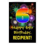 [ Thumbnail: 6th Birthday: Fun Fireworks Pattern & Rainbow 6 Card ]