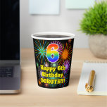 [ Thumbnail: 6th Birthday: Fun Fireworks Pattern + Rainbow 6 ]