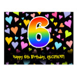 [ Thumbnail: 6th Birthday: Fun Hearts Pattern, Rainbow 6 Postcard ]