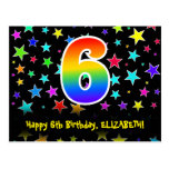 [ Thumbnail: 6th Birthday: Fun Stars Pattern, Rainbow 6, Name Postcard ]