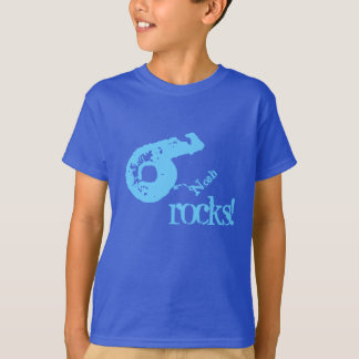 6th Birthday Gift for 6 Year Old Number on Slant T-Shirt