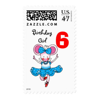 6th birthday gift for a girl, cute ballerina postage