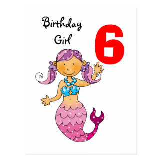 6th birthday gift for a girl, cute mermaid postcard