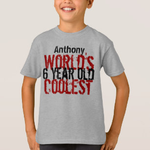 6th Birthday Gift Worlds Coolest 6 Year Old Boy T Shirt