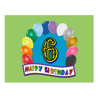 6th Birthday Gifts with Assorted Balloons Design Postcard