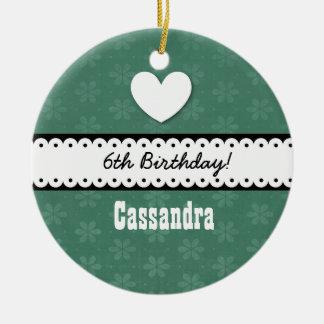 6th Birthday Girl Heart and Scalloped Ribbon A10 Ceramic Ornament