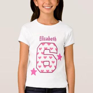 6th Birthday Girl HEARTS Six Year Custom V07C T-Shirt