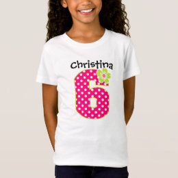 6th Birthday Girl Hot Pink & Green Dots T-Shirt