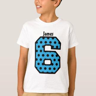 6th Birthday Girl Polka Dot Big Number Name V02Z T-Shirt