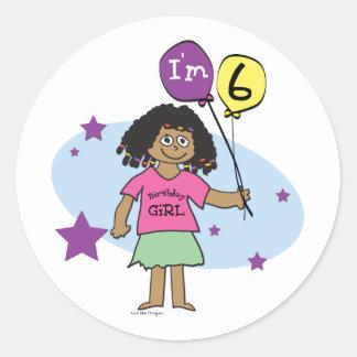 6th Birthday Girls Round Sticker