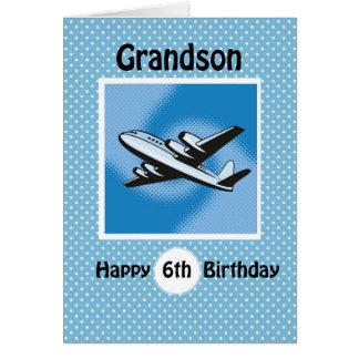 6th Birthday, Grandson, Airplane on Blue Card