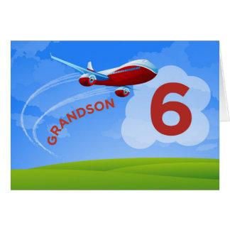 6th Birthday, Grandson, Red Airplane Card