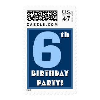 6th Birthday Party Big Bold Blue and White Postage