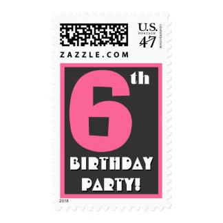 6th Birthday Party Big Bold Pink and Black Stamp