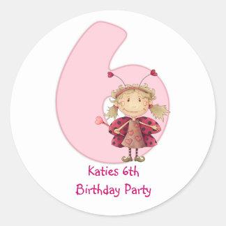 6th birthday party customizable sticker - cute