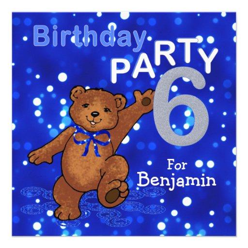 6th Birthday Party Dancing Teddy Bear Custom Invites