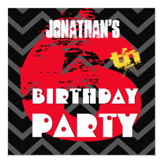 6th Birthday Party Grunge and Chevrons A06 Card